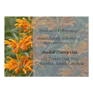 Orange Lions tail Wedding Reception card Invites