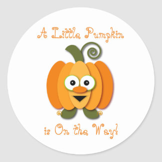 Orange Little Pumpkin Gender Reveal Baby Shower Classic Round Sticker