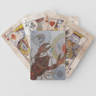Orange lobster bicycle playing cards