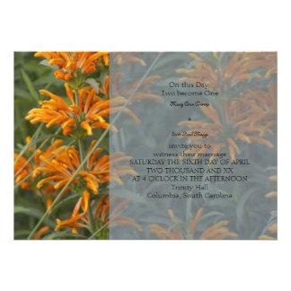 Orange Loins tail Wedding Invitation
