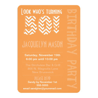 Orange Look Who's Turning 50 Birthday Invitation