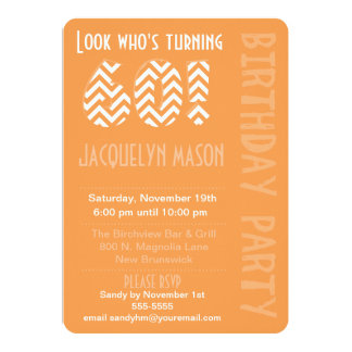 Orange Look Who's Turning 60 Birthday Invitation