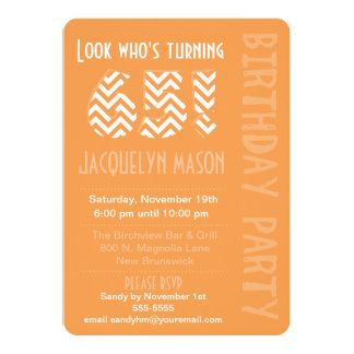 Orange Look Who's Turning 65 Birthday Invitation