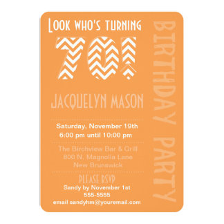 Orange Look Who's Turning 70 Birthday Invitation