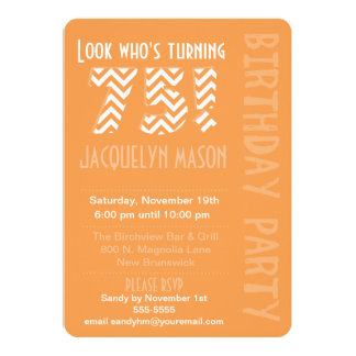Orange Look Who's Turning 75 Birthday Invitation