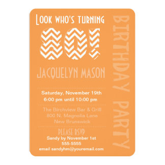 Orange Look Who's Turning 80 Birthday Invitation