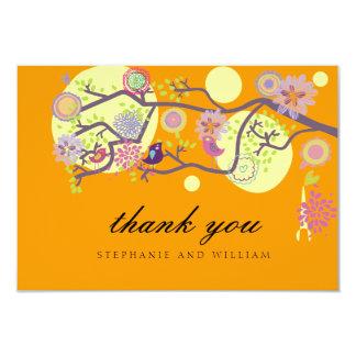 Orange Love Birds Wedding Thank You Card 9 Cm X 13 Cm Invitation Card