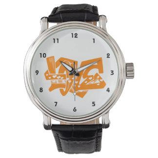 Orange Love Graffiti Watches