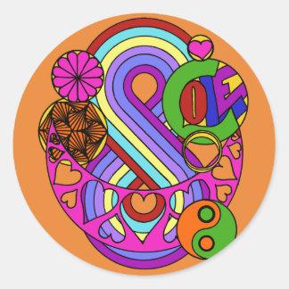 Orange Love Mandala Classic Round Sticker