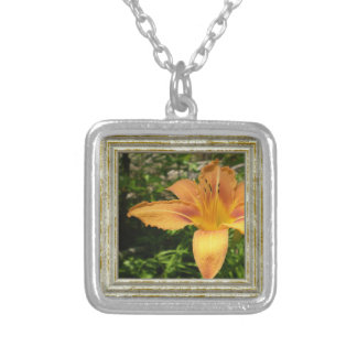 Orange Lys Flower Silver Plated Necklace