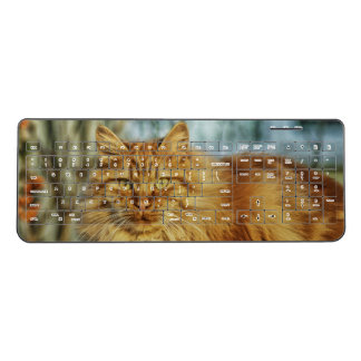 Orange Maine Coon Cat | cat lover gift Wireless Keyboard