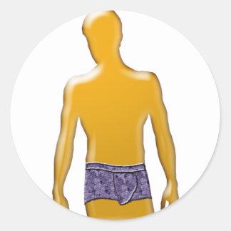 Orange Man in Purple Underwear Round Sticker