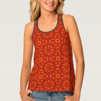 Orange Mandala Pattern Tank Top