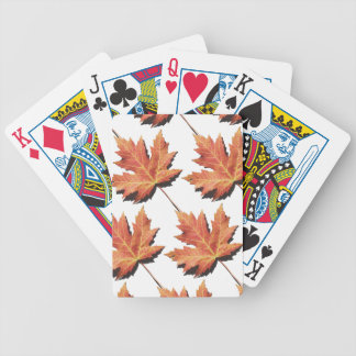 Orange Maple Leaf Bicycle Playing Cards
