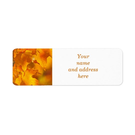 Orange maple leaves return address label