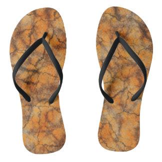 Orange marble flip flops