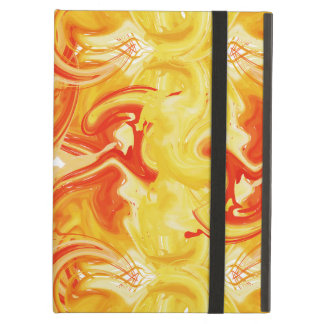 Orange marbled texture, rich ebru technique case for iPad air