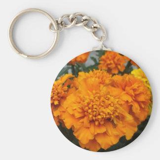 Orange  Marigold Basic Round Button Key Ring
