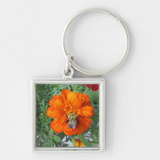 Orange Marigold Bee Flower Key Chain