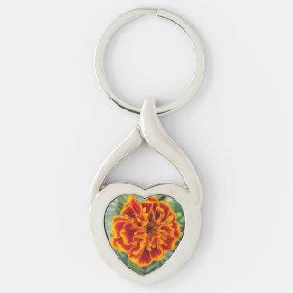 Orange Marigold Flower Key Ring