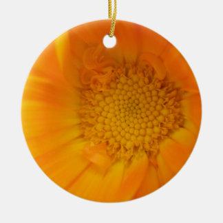 Orange Marigold Macro Custom Birthday Round Ceramic Decoration
