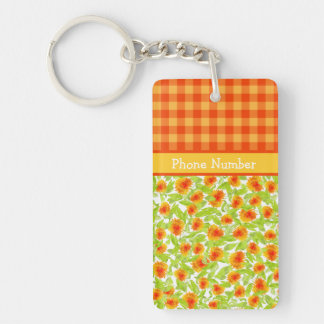 Orange Marigolds and Check Gingham Oblong Keychain