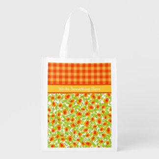 Orange Marigolds Floral and Check Gingham Reusable Grocery Bag