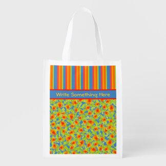 Orange Marigolds, Stripes Reusuable Shopping Bag