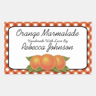 Orange Marmalade Custom Text Jar Label Rectangular Sticker