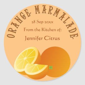 Orange Marmalade Customizable Food Classic Round Sticker