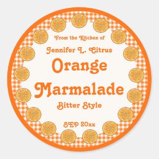 Orange Marmalade on Gingham Classic Round Sticker