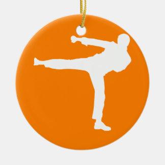 Orange Martial Arts Round Ceramic Decoration