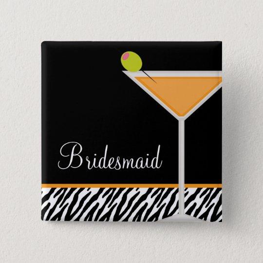 Orange Martini and Zebra Pattern 15 Cm Square Badge