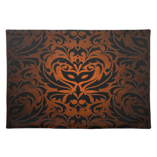 Orange Masquerade Damask Stylish Placemat