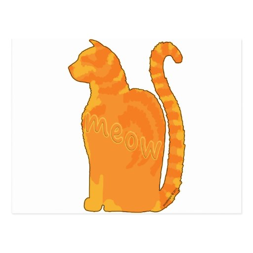 Orange Meow Kitty Cat Silhouette Post Card