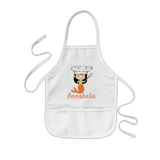 Orange Mermaid Chef Personalize Kids Apron