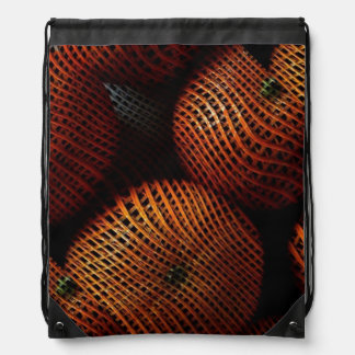 Orange Mesh Abstract Art Drawstring Backpack