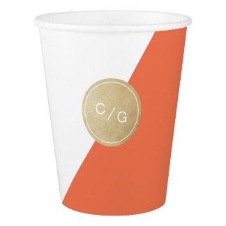 Orange minimalist modern wedding monogram paper cup