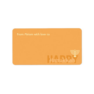 Orange Minimalistic Menorah Hanukkah Address Label