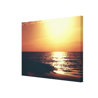 Orange Mississippi Gulf Sunset Gallery Wrapped Canvas