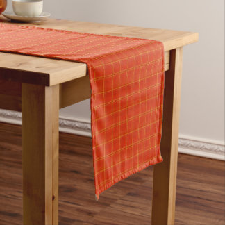 Orange Mock Gold Thread Print Table Runner 14x72