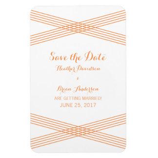 Orange Modern Deco Save the Date Magnet Rectangular Photo Magnet