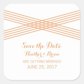 Orange Modern Deco Save the Date Stickers Square Sticker