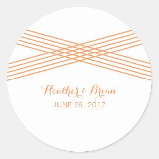 Orange Modern Deco Wedding Stickers Round Sticker