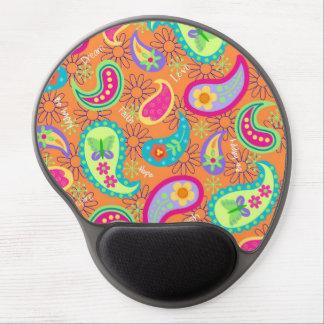 Orange Modern Paisley Whimsy Pattern Gel Mousepad