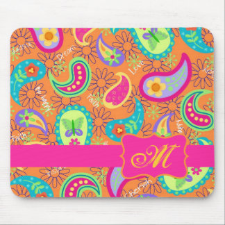 Orange Modern Paisley Whimsy Pattern Mouse Pad