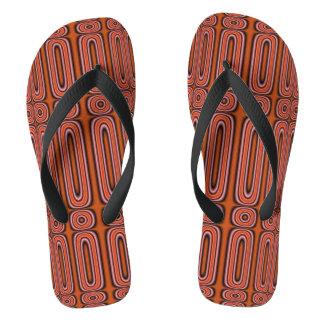 orange modern unique circle flip flops