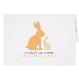 Orange Mom and Baby Rabbit Thank You Notes Note Card