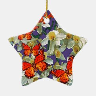Orange Monarch Butterflies Narcissus Art Ceramic Star Decoration