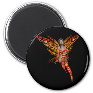 Orange Monarch Butterfly 3D Pixie - Fairy 1 6 Cm Round Magnet